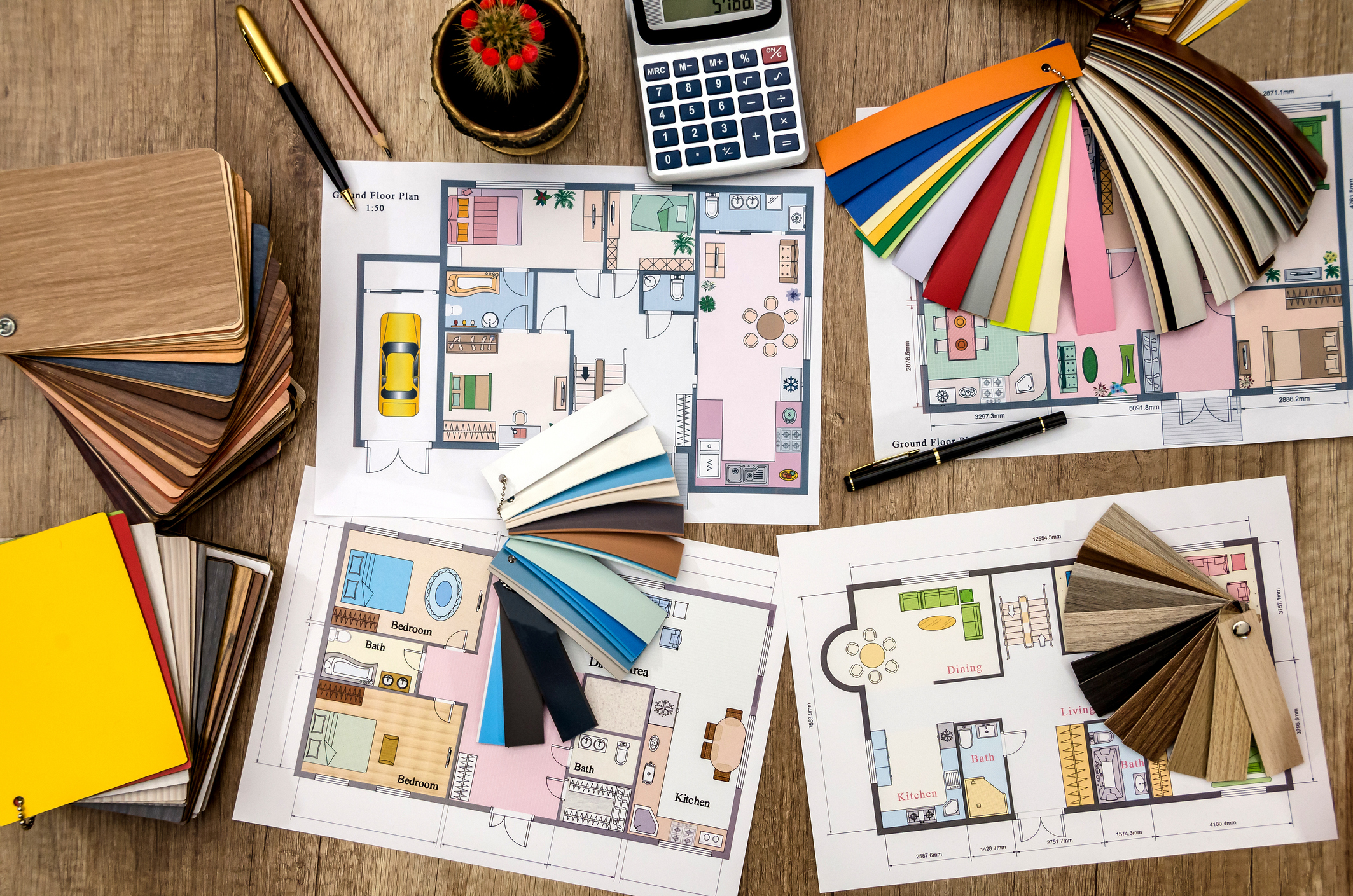 house design, color samples for the floor and furniture for the design of a new custom home