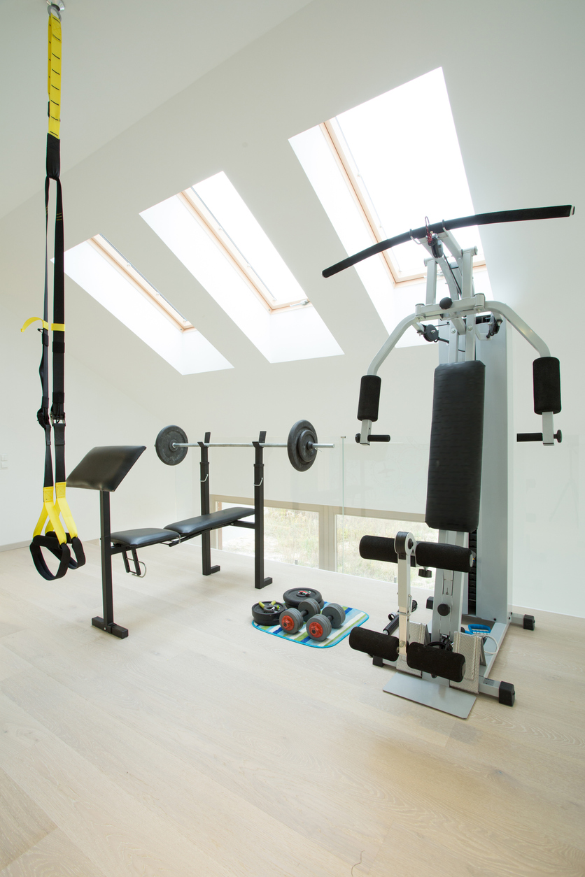 Big home gym in modern luxury house