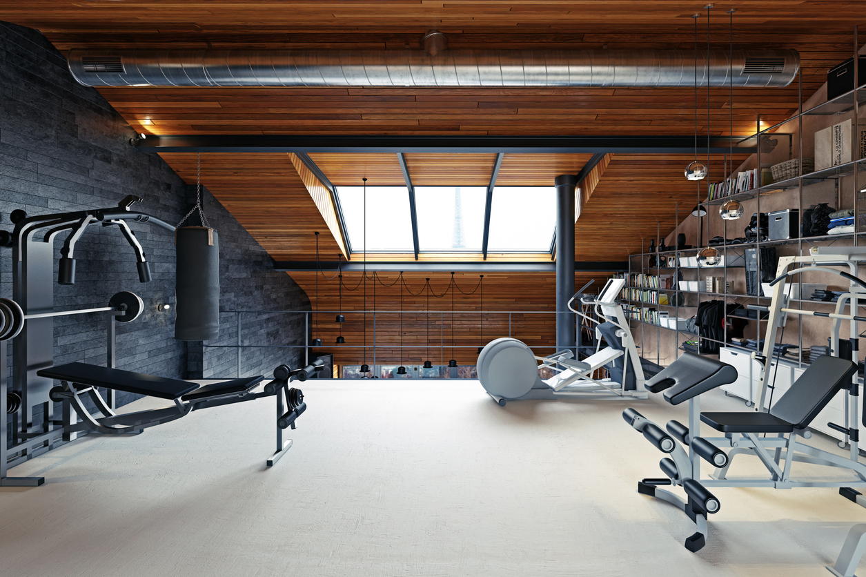 home gym room in the attic. 3d rendering design concept - home gym setup